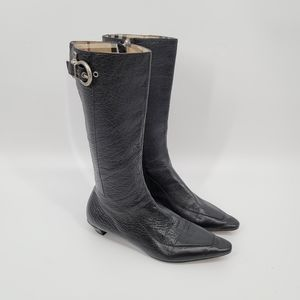 Burberry Pointed Toe Black Leather Boots 37.5
